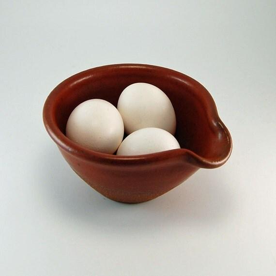 RESERVED - Ceramic Pottery Bowl - Prep Bowl - Omelette Bowl - Brown Bowl - Rustic
