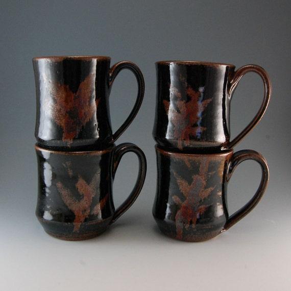 RESERVED - Set of 4 Mugs - Handmade Coffee Mug - Ceramic Mug - Temmoku