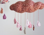 Raindrops keep falling on my head - cloud mobile in rose, chocolate, and pinks
