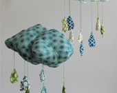 Raindrops keep falling on my head - Cloud fabric mobile in blue, greens, and browns