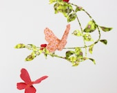 Butterfly ballet in the garden - handmade fabric mobile in grass green, candy pink, peach, rose red, tangerine orange, and white