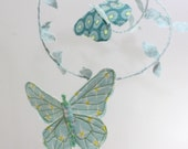 Fabric Butterfly Mobile for Nursery - Butterfly ballet - handmade in tiffany blue, teal, green, sky blue, mint, white and a touch of yellow