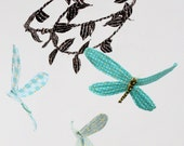 SALE 3 dragonflies dream of spring - fabric mobile in tiffany blue, turquoise, chocolate brown, white, sunshine yellow, and orange