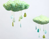 "Lucky Little Cloud Mobile - ""Raindrops keep falling on my head"" fabric sculpture in turquoise blue, mint green, lime, yellow and white"