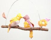 "Modern Love Bird Mobile - ""2 little lovebirds sitting in a tree K-I-S-S-I-N-G""  in honeysuckle pink, white, golden yellow, blush"