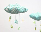 Polka Dot Rain Cloud Mobile - Fabric Nursery Decor - in turquoise blue, yellow, teal, apple green, and white