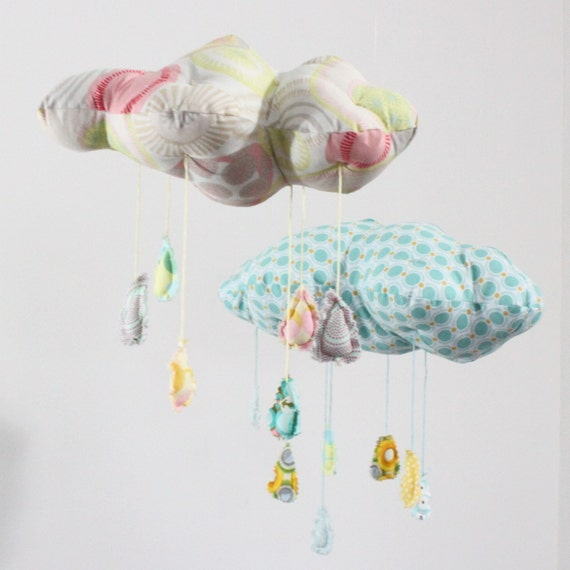 """Petite Fabric Cloud Mobile - """"Raindrops keep falling on my head"""" in snowy white, sunny yellow, pale candy pink and gray"""