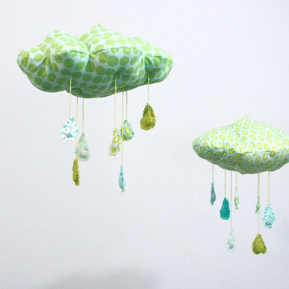 """Lucky Little Cloud Mobile - """"Raindrops keep falling on my head"""" fabric sculpture in turquoise blue, mint green, lime, yellow and white"""
