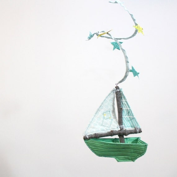 Little Boat Mobile for Nursery Decoration - Sail Away on a Wave of Imagination - handmade in sky blue, emerald green, and sea blue