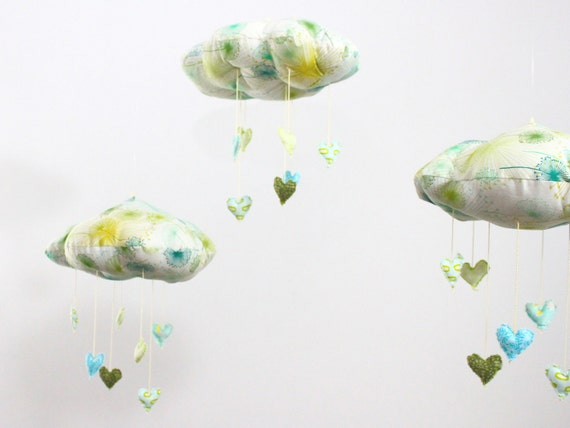 Lucky in Love - Limited Edition Cloud Heart Mobile - fabric sculpture decoration for nursery