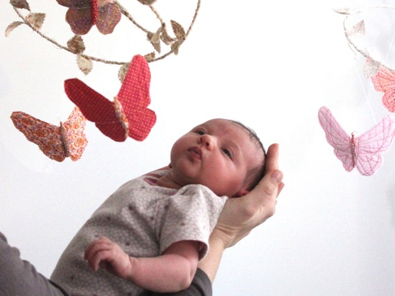 Butterfly Mobile - Modern Baby Nursery Decoration in pale pink, strawberry red, peach, cream, lavender, and white