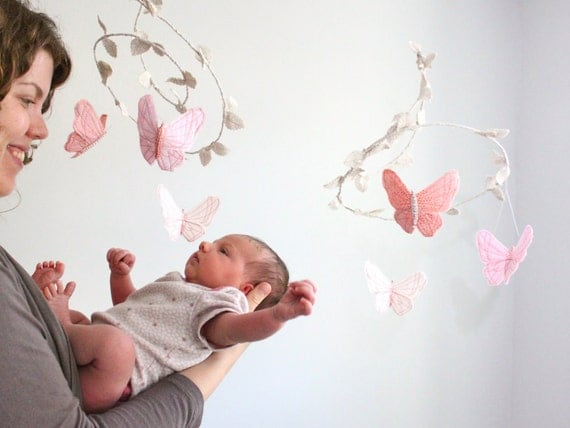 Butterfly Mobile - handmade fabric mobile for nursery decor in white, blush pink, rose and coral- Free US Shipping