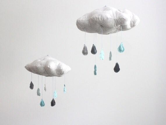 Cloud Mobiles - Tut, tut it looks like rain in gray, light blue, aqua, charcoal grey and white