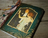 Small Notebook Vintage Teal  Bride and Groom