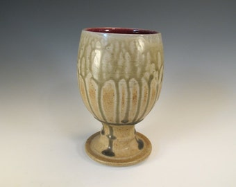 Large Tan Wood Ash and Oxblood Red Beer Glass - SALE