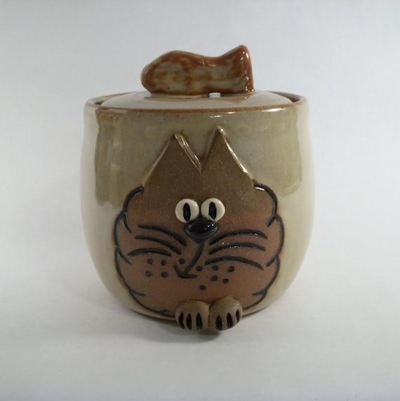 Tan Cat Face Lidded Treat Jar with Fish Handle