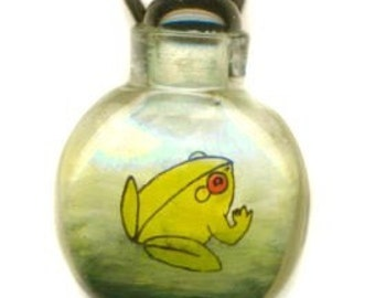 Hand Painted Glass Bottle Frog Tadpole Pendant Necklace Reversible
