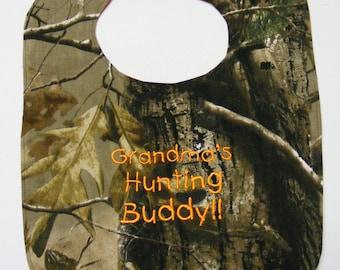 Grandma's Hunting Buddy - Large Style 3mo to 3T - Baby Bib - FREE Shipping to U.S.