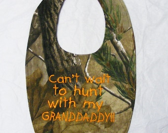 Can't wait to hunt with GRANDDADDY - SMALL Baby Bib - FREE Shipping to U.S.
