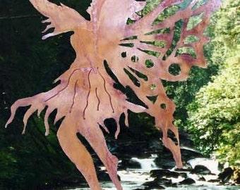 SKYDANCER FAIRY Fairie Handcrafted Steel Garden Yard Pond Art Pixie Sprite Plant Spike