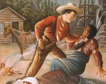 Wild West Cowboys Indians Neat Color Illustration