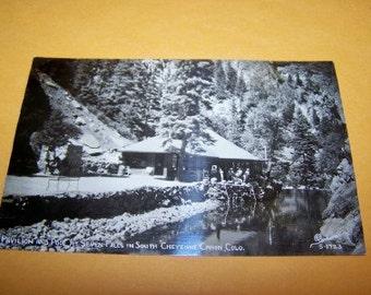 Seven Falls Pavillion Cheyenne Canon Colorado vintage RPPC unused condition