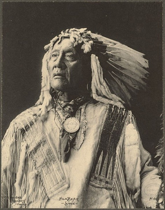 HIGH BEAR  Sioux American Indian vintage Image 8 1/2 x 11 Image