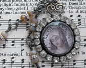 Religious Necklace Vintage Rhinestones Mother Mary Soldered Pendant Necklace