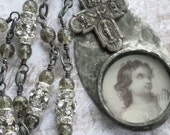 Reserved for Teresa Please Do Not Buy Unless You Are Teresa Vintage Religious Medal Necklace Holy Card Jesus Praying