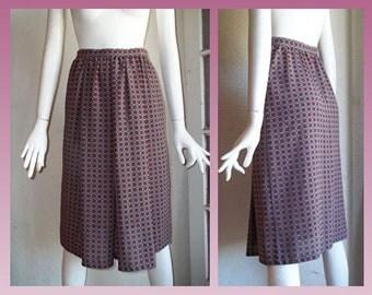 Vintage 80s ANNE KLEIN Lion Logo Tiny Geometric Rep Print Pleat Skirt Sz4 S New Aspects