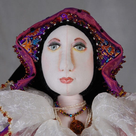 """Gypsy Queen, Soft-sculpted Art Doll, OOAK , Self Supporting - 19"""" tall"""