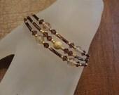 Amethyst,  Gold and  Swarovski  Crystal Bracelet Jewelry