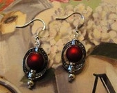 Red  And Oval Tibet Silver Earrings Jewelry