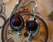 Purple  And Oval Tibet Silver Earrings Jewelry
