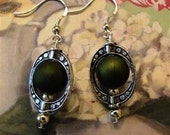 Green And Oval Tibet Silver Earrings Jewelry