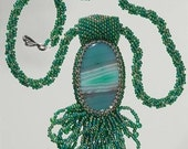Hand Beaded Green and Blue Agate Pendant and Necklace Jewelry