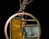 Vintage Jewelry Retro Brass with  Beautiful Blue Yellow and Green Enamel and Swarovski Necklace