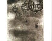 Flying Away etching Greeting Card