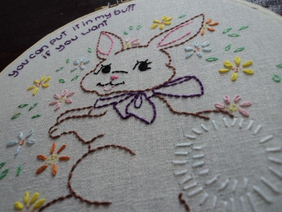 PRIVATE LISTING FOR THOMAS897 Adorably Dirty Bunny Embroidery mature