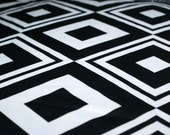 Silky 1972 Black and White Mod Vintage Fabric