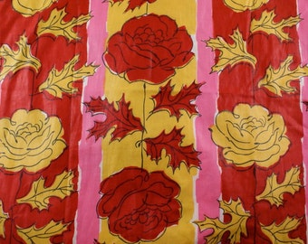 Red and Yellow Rose Drapes or Dress Fabric