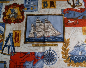 Vintage Anchor and Sailor Fabric