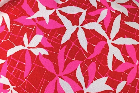 SALE Vintage Pink Red White Floral Fabric