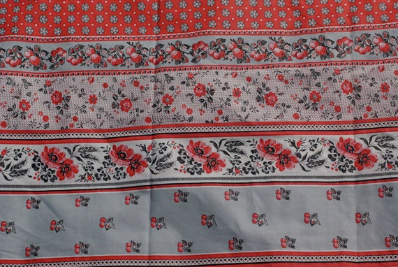 Grey and Red Berry Cotton Fabric