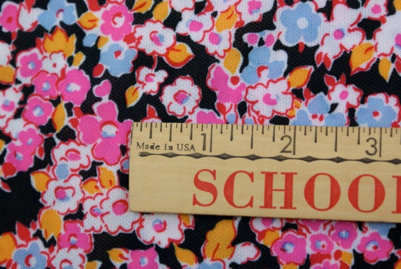 70's Polyester Flower Fabric