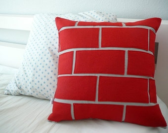 Exposed Red - Brick Pillow -  Pillow Cover - Decorative Pillow - Holiday Pillow - Christmas Decor