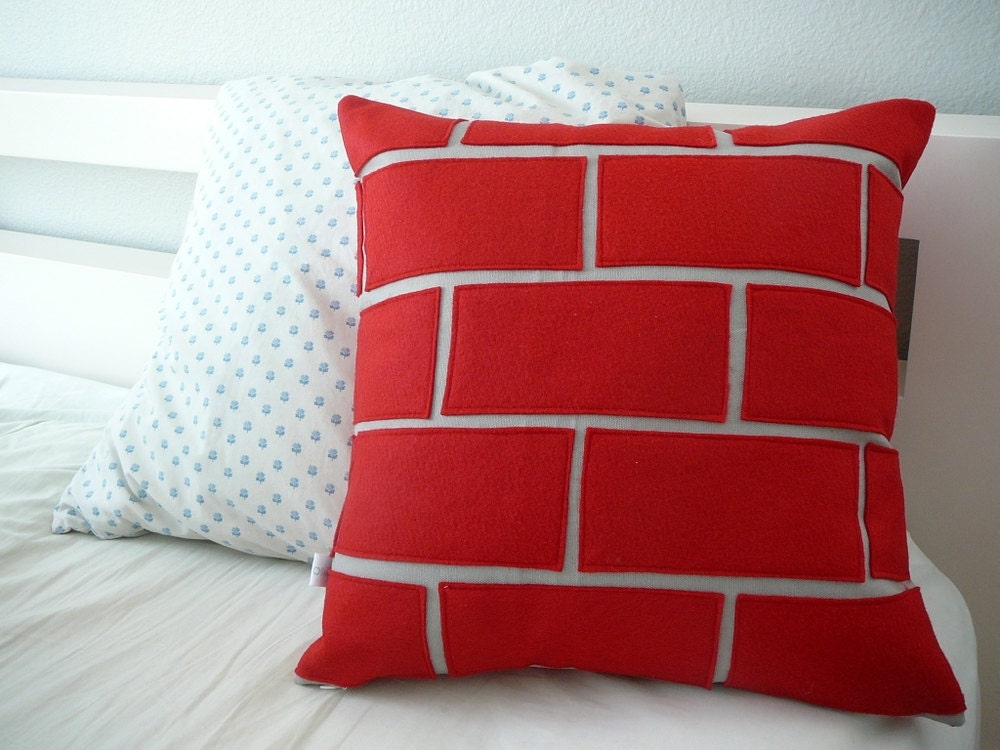 Exposed Red Brick Pillow Pillow Cover Decorative Pillow