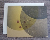 Hubble Galaxy Chartreuse - Green & Charcoal Gray - Letterpress Card : second edition