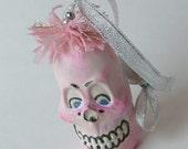 Cute Ceramic Pink Skull Ornament