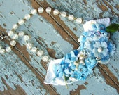 Antique Flowers and Lace Necklace . The Little Girl Blue Necklace